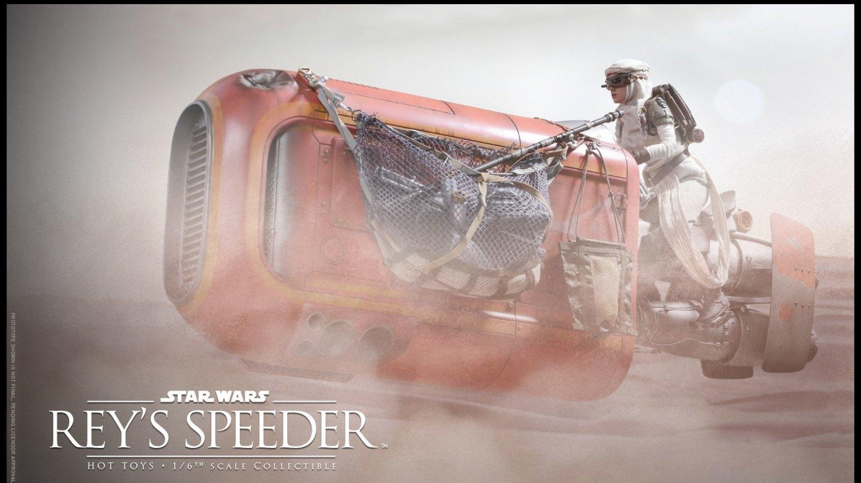 Hot Toys: figurine de Rey pilleuse d'épaves et speeder