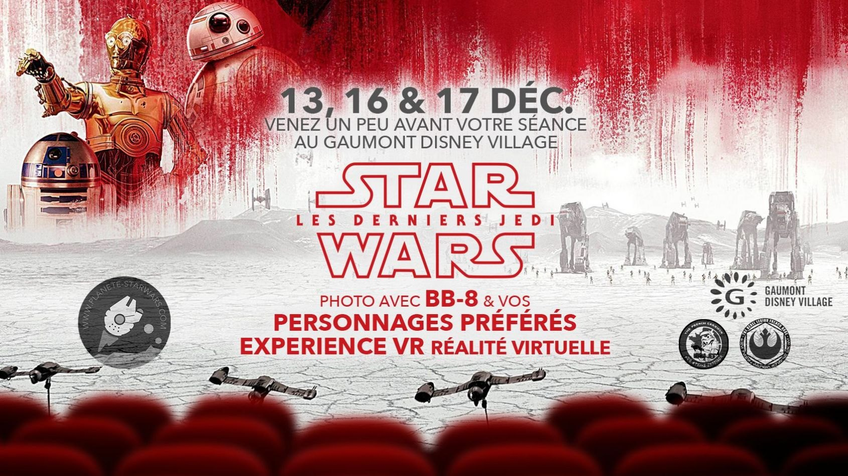 Les Derniers Jedi au Disney Village : fans costumés, BB-8 et VR !
